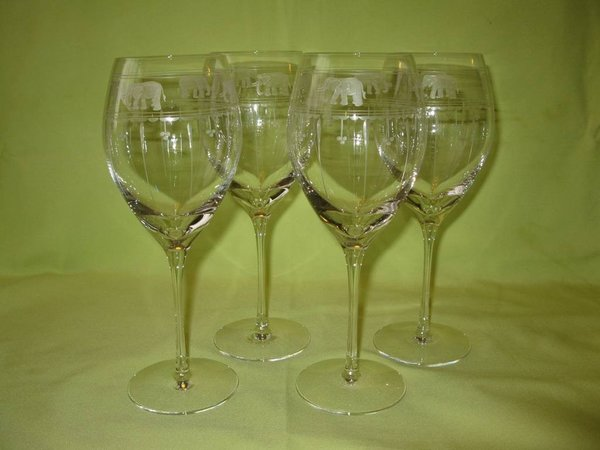 Crystal Wine Glasses 24% PbO (Hand-Made) ~ Aster Goblet / Olive & Eles ~ Set of 4 pieces